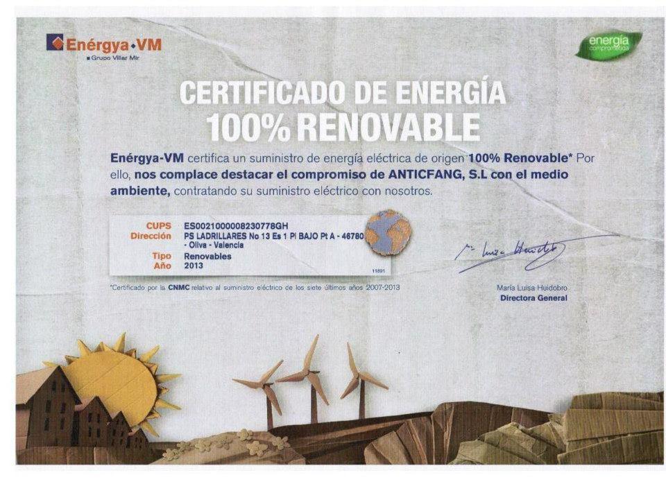 Certificado Energía Renovable